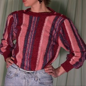 1970s vintage pink and blue stripe sweater